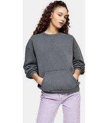 charcoal grey stonewash pocket sweatshirt - charcoal