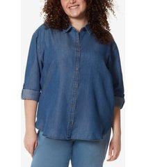 gloria vanderbilt plus size amanda button-up shirt