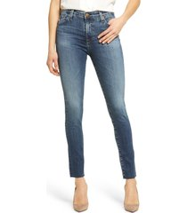 ag farrah high waist raw hem ankle skinny jeans, size 33 in 11 years blue horizon at nordstrom