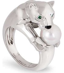 cartier pre-owned 18kt white gold panthère pearl ring