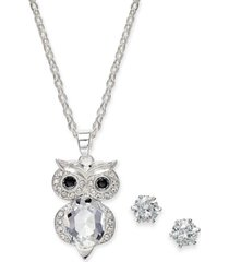 charter club fine silver plate 2-pc. set crystal owl pendant necklace & solitaire stud earrings, created for macy's