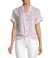 canyon striped tie-front shirt