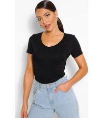 basic cotton v neck t-shirt, black