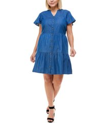 planet gold trendy plus size cotton tiered a-line dress