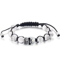 andrew charles by andy hilfiger men's onyx bead skull bolo bracelet in stainless steel (also in tiger's eye & white agate)