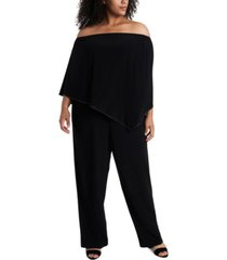 msk plus size off-the-shoulder overlay jumpsuit