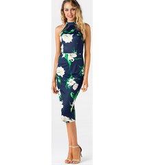 azul marino recortado diseño estampado floral aleatorio halter hendidura dobladillo vestido