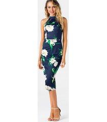azul marino recortado diseño dobladillo con abertura halter con estampado floral al azar vestido