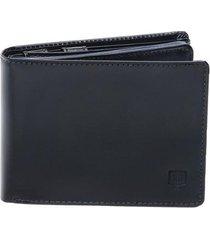 carteira em couro legítimo completa preta - porta cheque plástico documentos e porta moeda