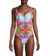 abstract floral one-piece swimsuit