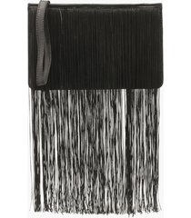 extreme fringe zip top clutch bag