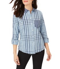 women's foxcroft hampton crinkle plaid shirt, size 14 - blue