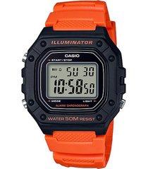 reloj casio modelo w-218h-4b2v naranja hombre