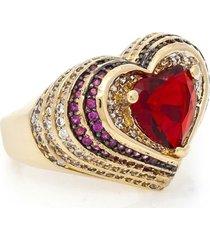 anel com coracao de cristal