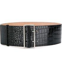 alexander mcqueen embossed crocodile effect belt - black