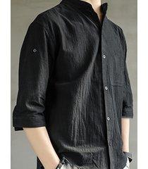 hombres summer casual chest pocket mock cuello lino de algodón transpirable camisa