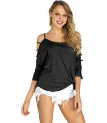 black cold shoulder t-shirt with strappy detail