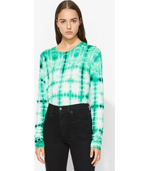 proenza schouler tie dye long sleeve t-shirt mlchtwhtblk/green xs