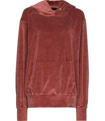 les tien velour oversize hoodie - pink