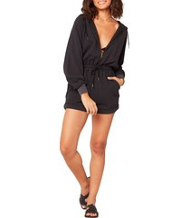 women's l space stay cool cover-up romper, size x-small - black