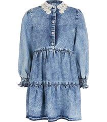 river island girls blue denim tiered shirt dress