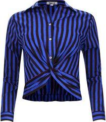 camisa a rayas cruzada color azul, talla 12