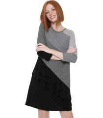 vestido desigual curto amber cinza/preto