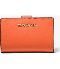 mk portafoglio medio in pelle a grana incrociata - mandarino (arancio) - michael kors