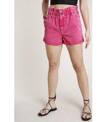 short de sarja feminino triya clochard cintura super alta pink