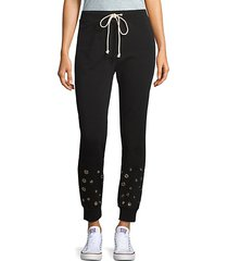 metallic ring-trimmed jogger pants
