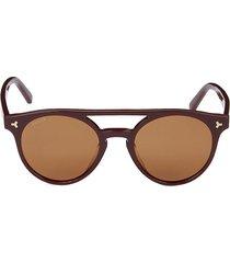 bally women's 50mm round sunglasses - red brown