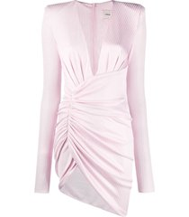 alexandre vauthier ribbed knit ruched style dress - pink