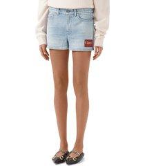 women's gucci label denim shorts