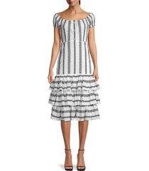 caroline constas women's printed cotton midi dress - white black - size xs