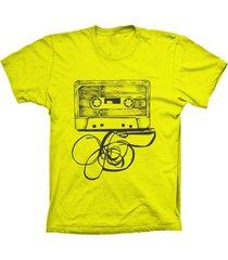 camiseta baby look lu geek fita k7 amarelo - amarelo - feminino - dafiti