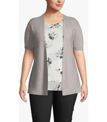 lane bryant women's ribbed-front short sleeve cardigan 18/20 ash