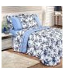 kit cobre leito floral queen size estampado valentina 2,60m x 2,35m com porta travesseiro