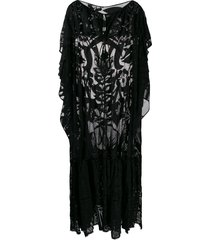 emilio pucci embroidered flared beach cover-up - black