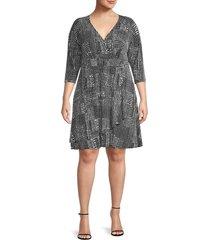 karen kane women's plus printed faux wrap dress - pebble print - size 1x (14-16)