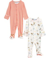 infant boy's mini boden assorted 2-pack print cotton footies, size 3-6 m - ivory