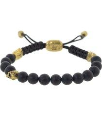 brass skull and onyx bead bracelet