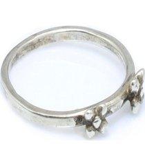 anel mini flores prata 925