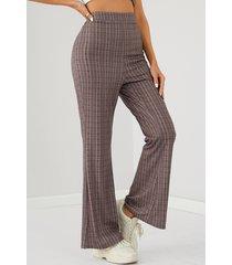 yoins marrón tartán cintura alta flare pantalones