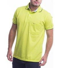 camiseta polo hamer , unicolor con bolsillo y bordado, para hombre color verde limon