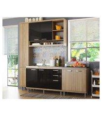 cozinha compacta completa multimóveis com 4 peças sicília 5812 argila/preto