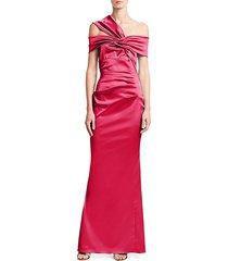 duchesse stretch satin one-shoulder column gown