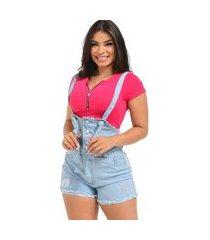 jardineira macacão jeans feminino curto verão