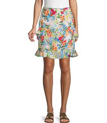 ruffle-trimmed floral skirt
