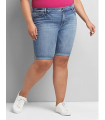 lane bryant women's straight fit high-rise denim bermuda short - light wash 28 light denim