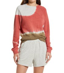 treasure & bond toe dye organic cotton blend sweatshirt, size medium in pink mauve- brown combo at nordstrom